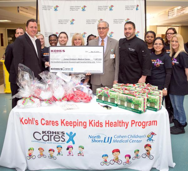 ohen Children's Medical Center was awarded a grant of $267,839 on behalf of Kohl's Department Stores during the recent Kohl's Cars Keeping Kids Healthy Top Chef Cook-off.