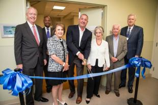 Paul Guenther, Chairman, LHH Executive Committee; Yves Duroseau, MD, Chairman, Emergency Services, Lenox Hill Hospital; Rebecca Steindecker, Harry Falk, Serafina Weiner, Maurice Falk and Dennis Connors, Executive Director, Lenox Hill Hospital