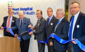 Michael J. Dowling, Northwell Health's president and CEO, joins heart patient, Al Mullery, and physicians in a ribbon-cutting event at the Heart Hospital.