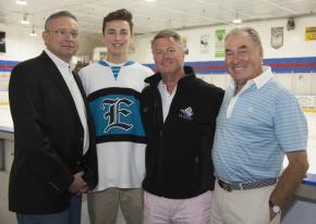 From left: Dr. Alan Hartman, Christopher Boisselle, Kent Hitchcock and New York Islanders legend Ed Westfall.