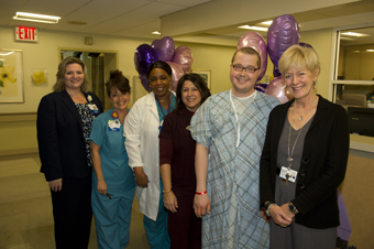 From left: Mary Curran, director, Patient Care Services; Julie Denninger, RN; Sandra Basile, assistant nursing manager; Stacy; Branson Sparks; and Chantal Weinhold, executive director, LIJ Medical Center.
